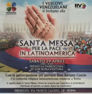 Sabato 29 aprile 2017 - Santa Messa per la Pace in Latino America